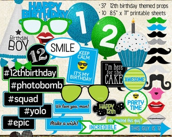 Photo Booth Props, HAPPY 12TH BIRTHDAY, boy, printable sheets, instant download, cyan, lime, party