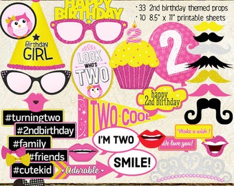 Photo Booth Props, HAPPY 2ND BIRTHDAY, girl, printable sheets, instant digital download, diy, party planning, pink, yellow