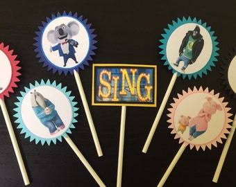 Sing Cupcake Toppers (7), Sing Birthday Party, Sing cake topper, sing birthday, Sing movie