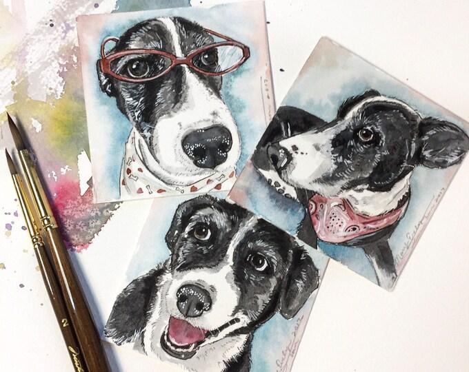 "Featured listing image: Mini 3""x3"" Whimsical Custom Watercolor Pet Portrait"