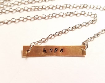 Necklace, Hope Necklace, Hand Stamped Metal Necklace, Stamped Necklace  Hope, Metal Charm Necklace, Necklace Hope, Stamped Hope Necklace