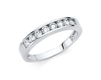 14k Solid White Gold Wedding Band 0.50 ct Round Cut Channel Set Classic Ring 2.4 Grams