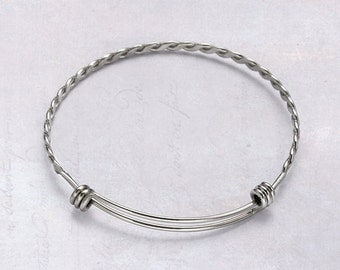 3 x Stainless Steel Twisted Wire Pattern Adjustable Bangles / Bracelet Blank