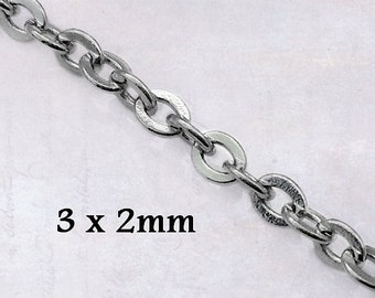 5m x Fine 316 Stainless Steel Flat Link Cable Chain 3mm x 2mm x 0.6mm Soldered Links