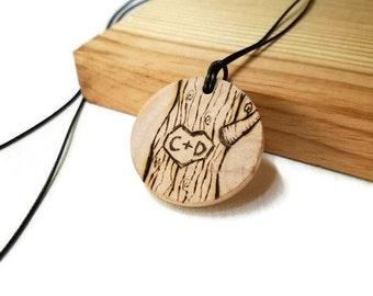 Custom couple necklace, couples pendant, custom couples gift, wood initials necklace, wooden necklace, initials  necklace, anniversary gift