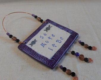 So Mote It Be - Wiccan Saying, Spiral Triple Goddess Moon Phases Wall Tile with Copper Wire, Jet, Amethyst, Ceramic, and Copper Beads