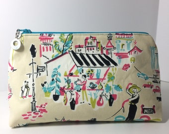 Paris Street Scene Makeup Bag with Charm Accent//Large and Sturdy Cosmetics Bag with a Parisian Motif and Teal Zipper