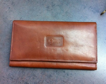Vintage Leather Wallet - Caramel Brown Leather - Italian Leather Women's Wallet - Gift for Her