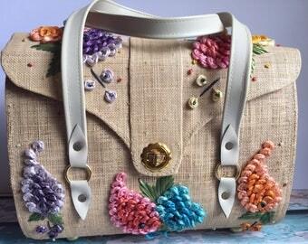 Vintage Tropical Floral Straw Handbag Purse