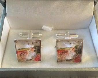 Wedding- Silver cuff links - square cuff links - bird cuff links - wedding cuff links - cuff links- groom gift - Grey partridge cuff links