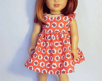 18 inch doll clothing buds in coral dress