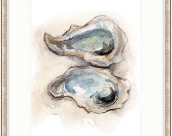 2 Oysters - SMc. Originals, watercolor painting, rustic, modern, original artwork, nature decor, oyster art