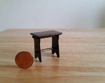 Handmade Miniature Dolls House Tudor Style Stool 1.12 scale