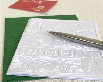 CAMPING - Set of 6 Embossed Cards (No.15) - Pack of 6 White Blank Cards Suitable for Campers, Scout Leader, Outdoor Enthusiasts