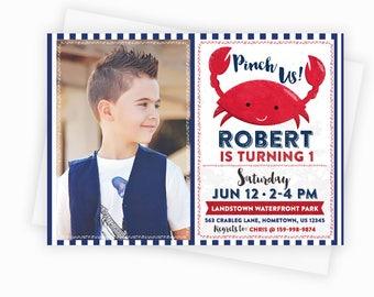 Nautical Crab Party Photo Invitation - Crab Birthday Invitation - 5x7 Custom Nautical Party Invitation, Nautical Crab Baby Shower