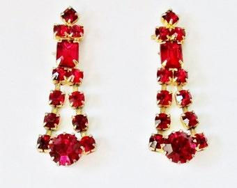 Vintage Red Ruby Earrings, Ruby Earrings, Red Rhinestone Earrings, Vintage Ruby Earrings,  Ruby Red Earrings, July Birthstone Jewelry