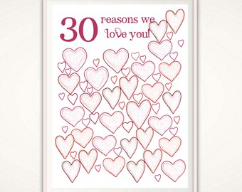 30th Birthday Gift For Her - 30th Birthday Print, PRINTABLE 30 Reasons We Love You, Present, Ideas, 30th Birthday For Her, DIY, From Us