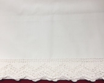Vintage pillowcase white on white mint condition beautiful