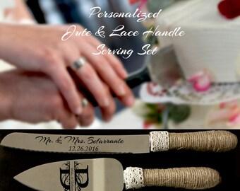 Wedding Cake Serving Set, Wedding Cake Knife Set, Cake Server, Wedding Knife and Server Set, Rustic Wedding Serving Set, Jute & Lace Handle