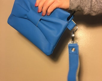 Handmade Electric blue leather wristlet set