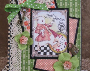 Alice in Wonderland Handmade Journal -  White Rabbit