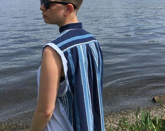 Blue Stripe Cape Shirt