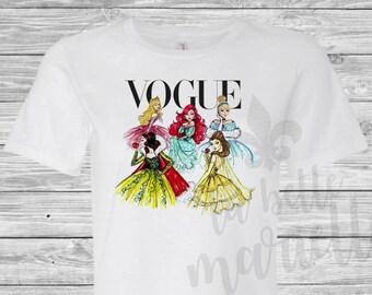 Ladies Disney Vogue Princess Collage Shirt - Disney Vogue Shirt - Vogue Disney Princess Tee