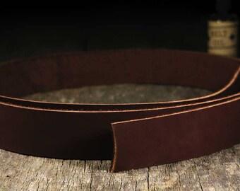 "Leather Strap - 8oz - 10oz - Veg Tan Steerhide - Full Length (Cow Length) 70""- 90"" Long - Havana Brown - All Widths - TheCopperBuckle"