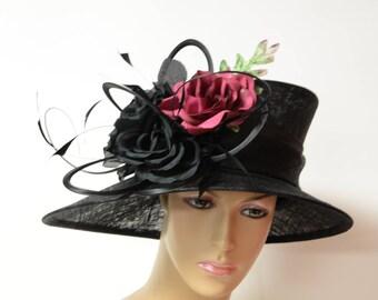 Black medium-brim Sinamay Hat, beautiful and elegant,  Kate Middleton Hat, Kentucky derby Hat, Wedding Hat, Formal Hat, church hat,Royal hat