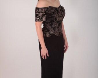 Scott McClintock, Jessica McClintock, Formal Dress, Prom Dress, 1980, 80s, Black Velvet, Floral, Evening Wear, Off the Shoulder 170223