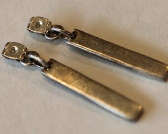 HOB Mexico sterling silver dangle modernist earrings front posts stones pearls