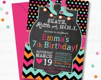 Roller Skating Birthday Invitation, Skating Party, Roller Skate Party, Roller Skating Party, Roller Skating Birthday Party, Roller Skates
