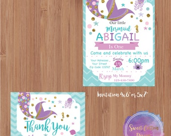 Little Mermaid Birthday Party Invitation with thank you note