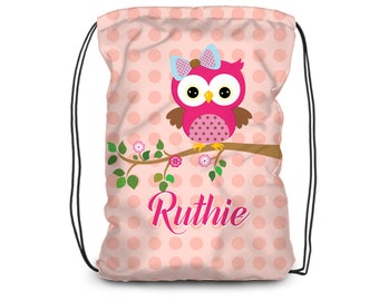 Kids Owl Drawstring Backpack - Owl Cinch Sack, Coral Peach Polka Dots, Pink Owl Personalized Backpack, You Pick Owl - Kids Personalized Gift