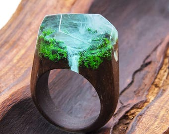Waterfall-wooden resin ring. Eco epoxy jewelry. Green Wood - the secret of the magical world in a tiny landscape in every decoration.