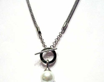 Mother Of Pearl Silver White Drop Pendant Necklace