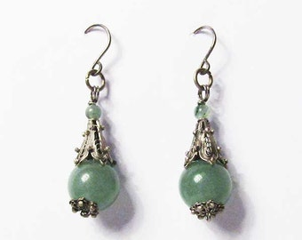 Exotic Genuine Jade Tibetan Silver Dangle Earrings