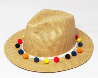 Fiesta Multi Color Pom Pom Trim Tan Straw Fedora Hat