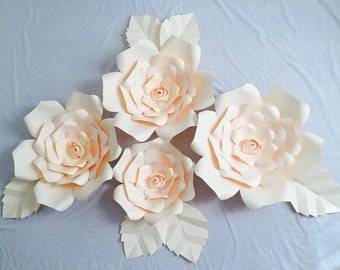 Large Paper Flowers, Set of 4 flowers, home decor, wall decor, events, photography customize syle, size and colors!!!