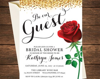 Beauty and the Beast Invitation | Beauty and the Beast Bridal Shower | Beauty and the Beast Shower | Belle Invitation | Belle Bridal Shower