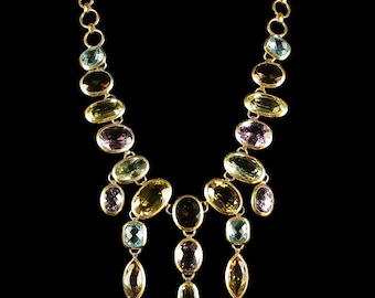 Gemstone Necklace 18ct Silver Over 300ct Of Gemstones