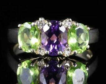 Suffragette Ring 9ct Gold Amethyst Peridot Diamond
