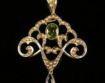 Antique Victorian Suffragette Pendant Circa 1900 Amethyst Peridot Pearls