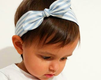 Hair band for girl or Mama celestial and white stripes