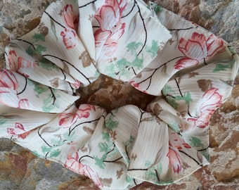 Beautiful,simple,soft,handmade, floral scrunchie/hair tie/bun holder bun tie/ponytail holder/tie in muted shades of green,red,brown,on cream