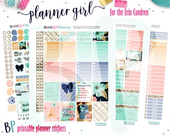 Planner Girl | Weekly Printable Planner Kit | Planner Stickers | Cut Line Files | for use with Erin Condren | Planner Stickers Printables