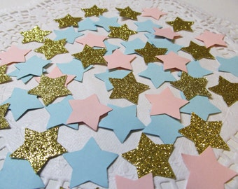 225 Twinkle, Twinkle, Star Gender Reveal Die Cuts Confetti - Pink/Blue/Gold Glitter Cardstock Boy/Girl Birthday/Baby Shower/Glitter Confetti