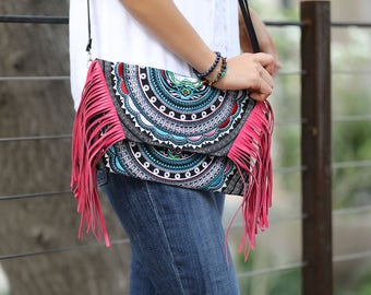 Embroidered Tribal Cat Pattern Crossbody with Leather Tassels and removable strap , Hmong Clutch , Bohemian bag,Ethnic bag, Hmong Bag