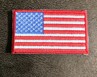 """American Flag Iron On Patch 2 1/2"""" x 1 1/2"""" Free Shipping"""