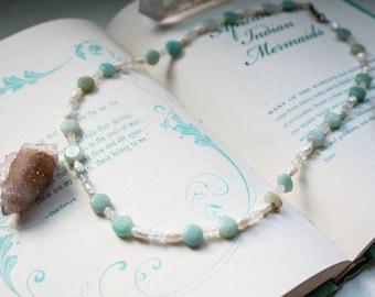 Aquamarine, Pearl, Moonstone, and Amazonite beaded Necklace